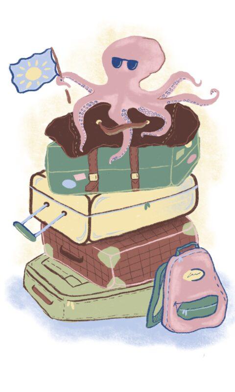 Eine Krake mit Sonnenbrille sitzt auf gepackten Koffern.
