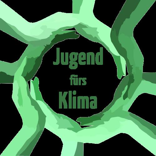 """Logo des Bündnisses """"Jugend fürs Klima"""". 8 Hände bilden einen Kreis um den Namen."""